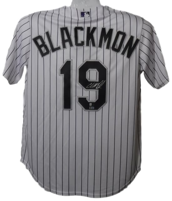 Charlie Blackmon Autographed Colorado Rockies Majestic L White Jersey FAN PSM-Powers Sports Memorabilia