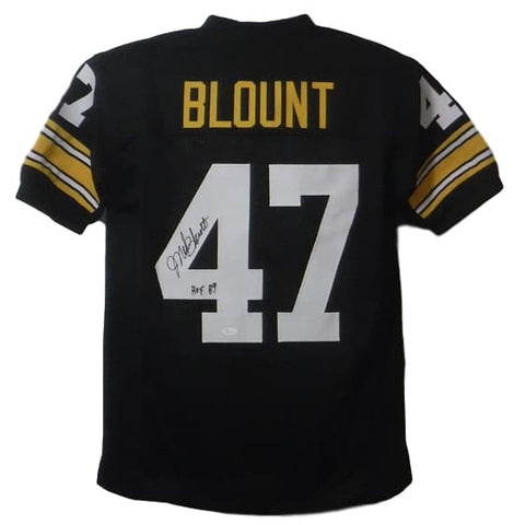 Mel Blount Autographed Pittsburgh Steelers Size XL Black Jersey HOF JSA PSM-Powers Sports Memorabilia