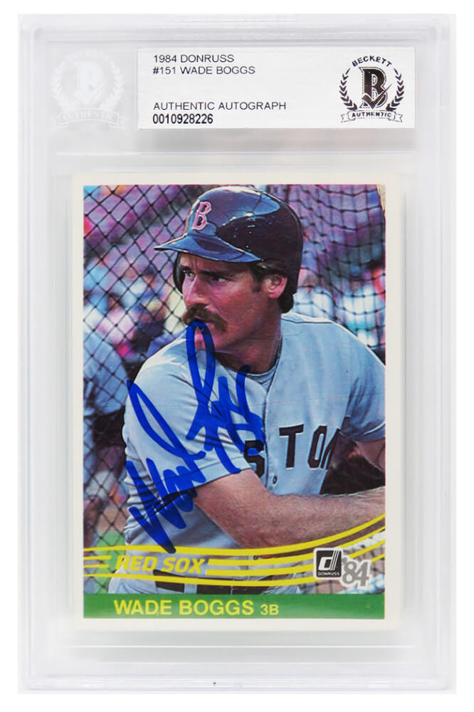 Wade Boggs Signed Boston Red Sox 1984 Donruss Baseball Card #151 - (Beckett Encapsulated) PSM-Powers Sports Memorabilia