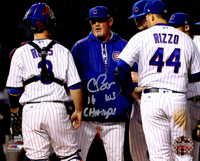 Chris Bosio Signed Chicago Cubs 2016 World Series 8x10 Photo w/16 WS Champs PSM-Powers Sports Memorabilia