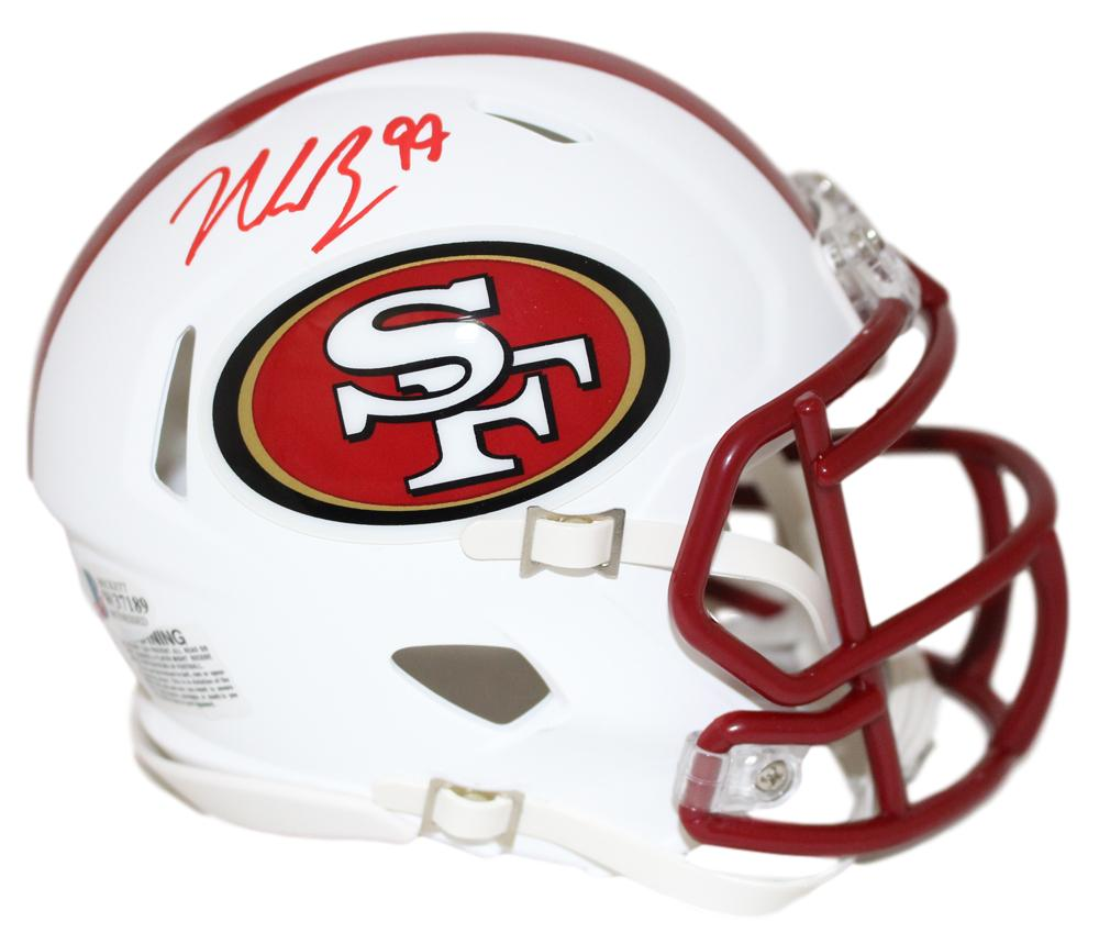 Nick Bosa Autographed San Francisco 49ers Flat White Mini Helmet BAS PSM-Powers Sports Memorabilia