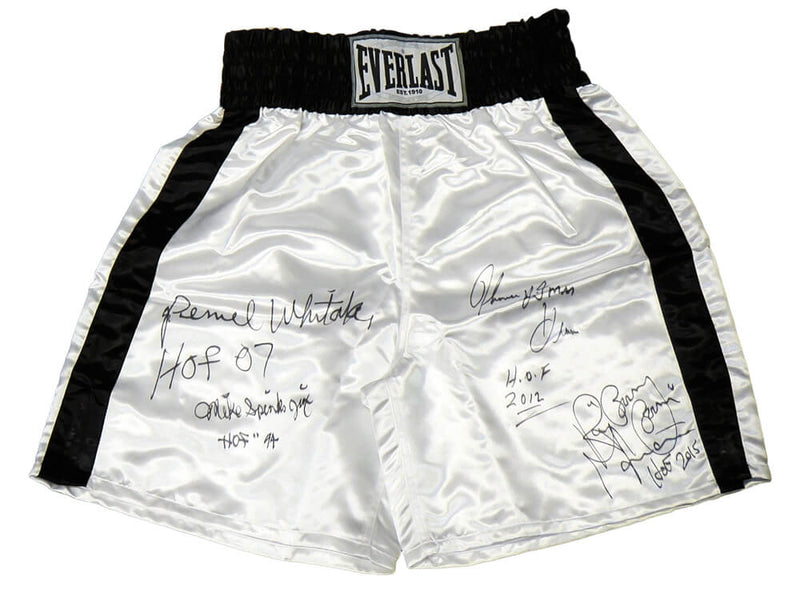 Thomas Hearns, Pernell Whitaker, Michael Spinks & Ray Mancini Multi Signed Everlast White Trunks w/HOF Years PSM-Powers Sports Memorabilia