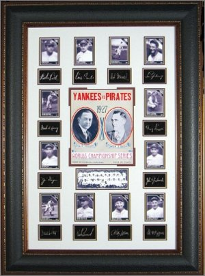 Babe Ruth , Lou Gehrig 1927 New York Yankees Engraved Signature Collection / Photos/Poster 27x39 Premium Leather Framing PSM-Powers Sports Memorabilia