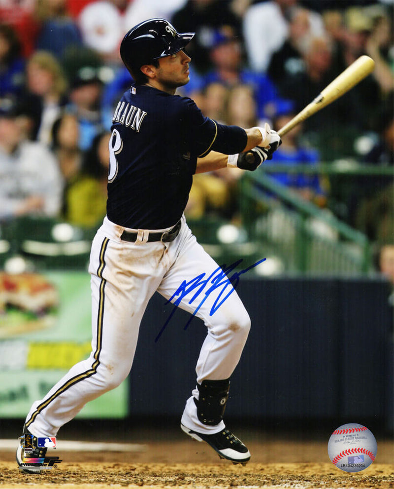 Ryan Braun Signed Milwaukee Brewers Swinging Action 8x10 Photo PSM-Powers Sports Memorabilia