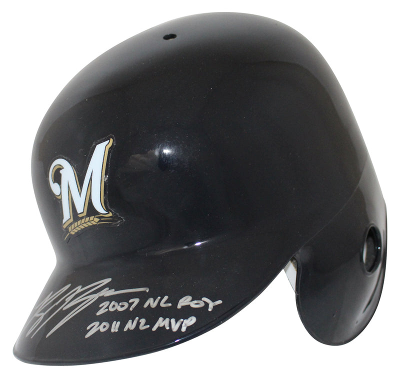 Ryan Braun Autographed Milwaukee Brewers Batting Helmet ROY/MVP BAS PSM-Powers Sports Memorabilia