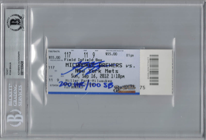 Ryan Braun Autographed Milwaukee Brewers Ticket 200 HR/100 SB BAS Slab PSM-Powers Sports Memorabilia