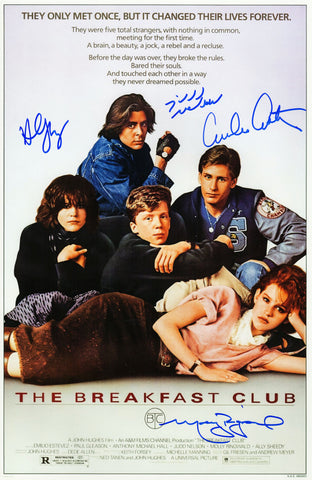 The Breakfast Club Cast Signed The Breakfast Club 11x17 Movie Poster (Estevez, Ringwald, Nelson, Sheedy) PSM-Powers Sports Memorabilia