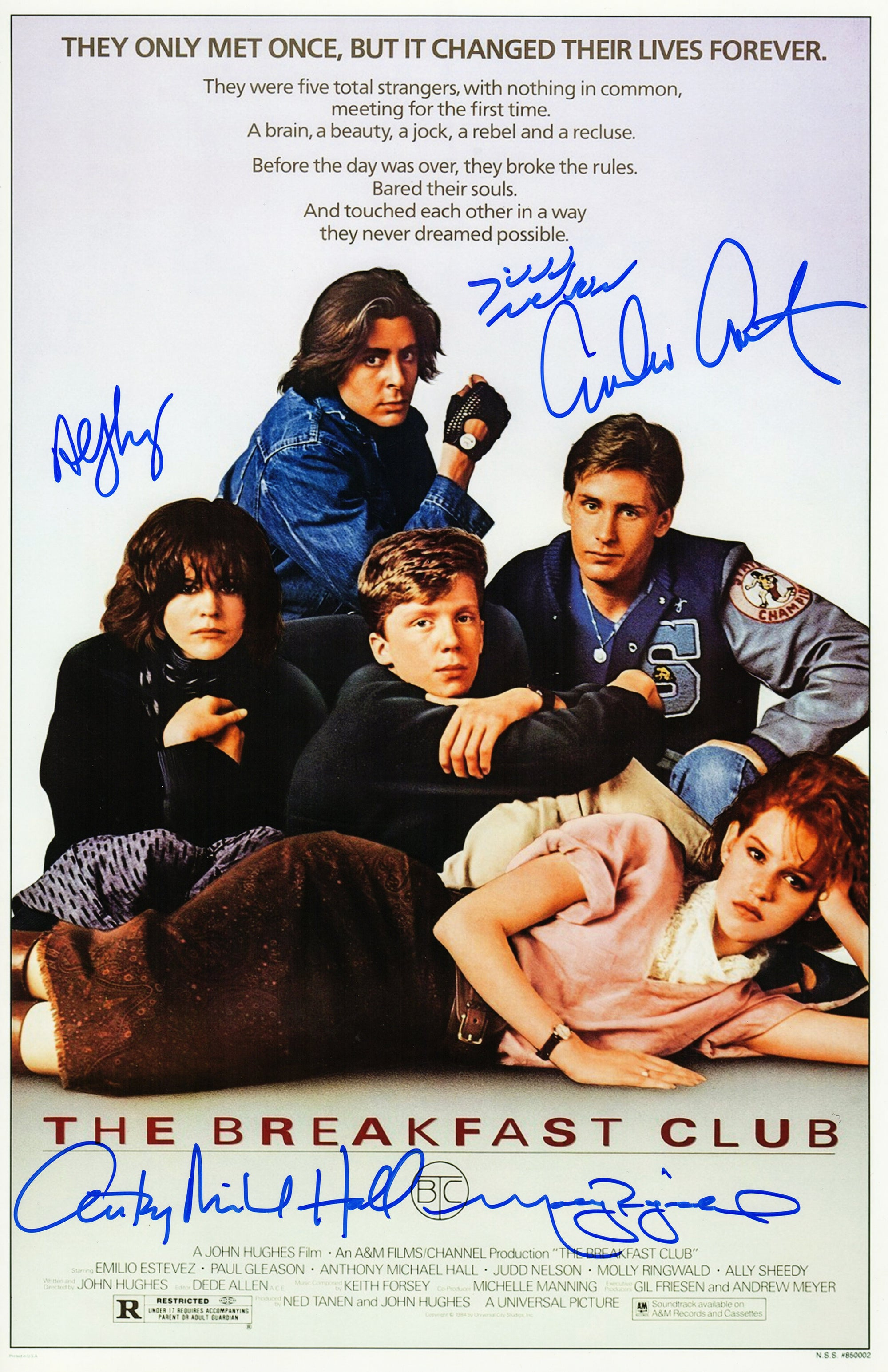 The Breakfast Club Cast Signed The Breakfast Club 11x17 Movie Poster (Estevez, Ringwald, Nelson, Hall, Sheedy) PSM-Powers Sports Memorabilia