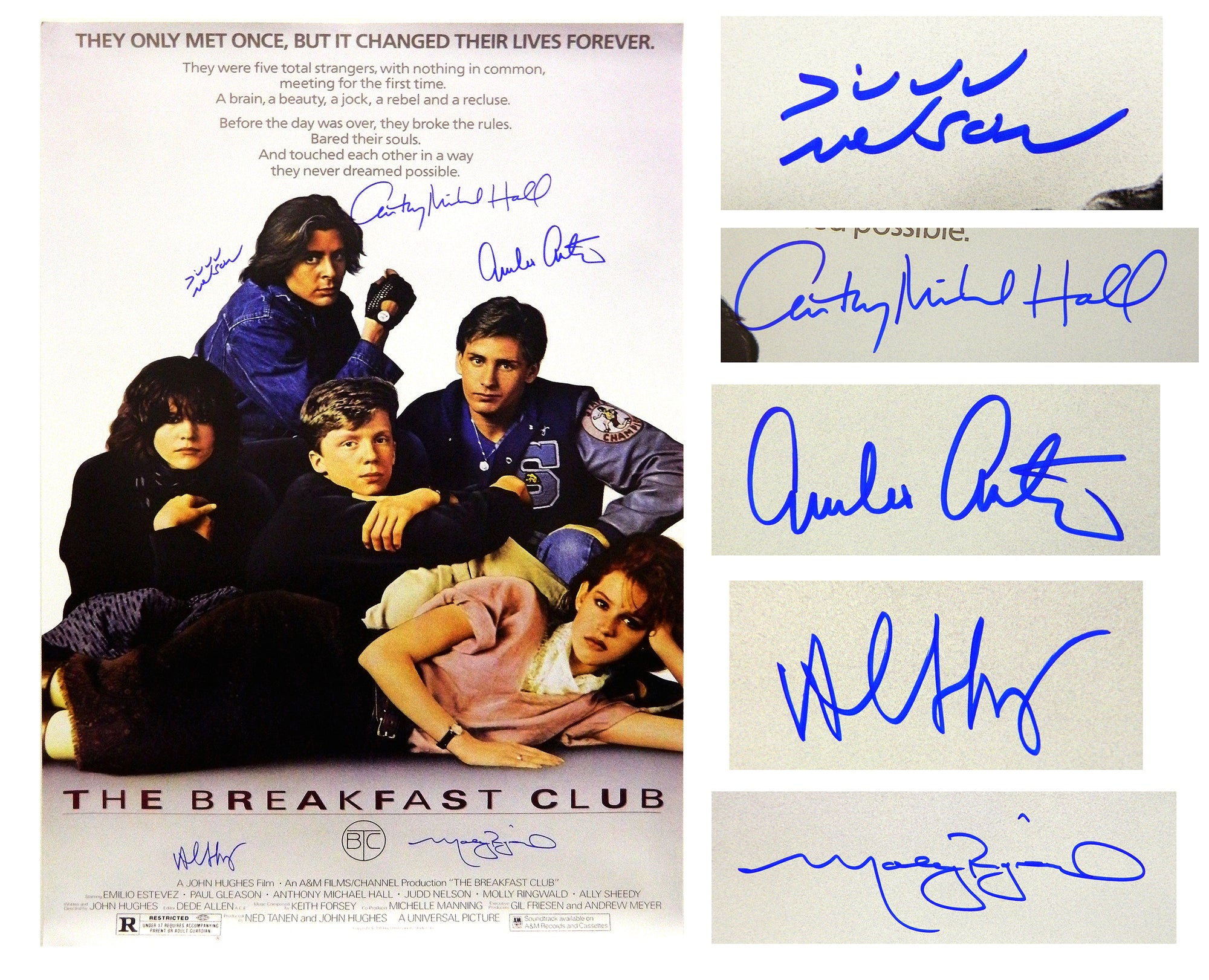 The Breakfast Club Cast Signed The Breakfast Club 24x36 Movie Poster (Estevez, Ringwald, Nelson, Hall, Sheedy) PSM-Powers Sports Memorabilia
