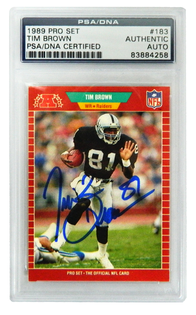 Tim Brown Signed Los Angeles Raiders 1989 Pro Set Trading Card #183 - (PSA Encapsulated) PSM-Powers Sports Memorabilia