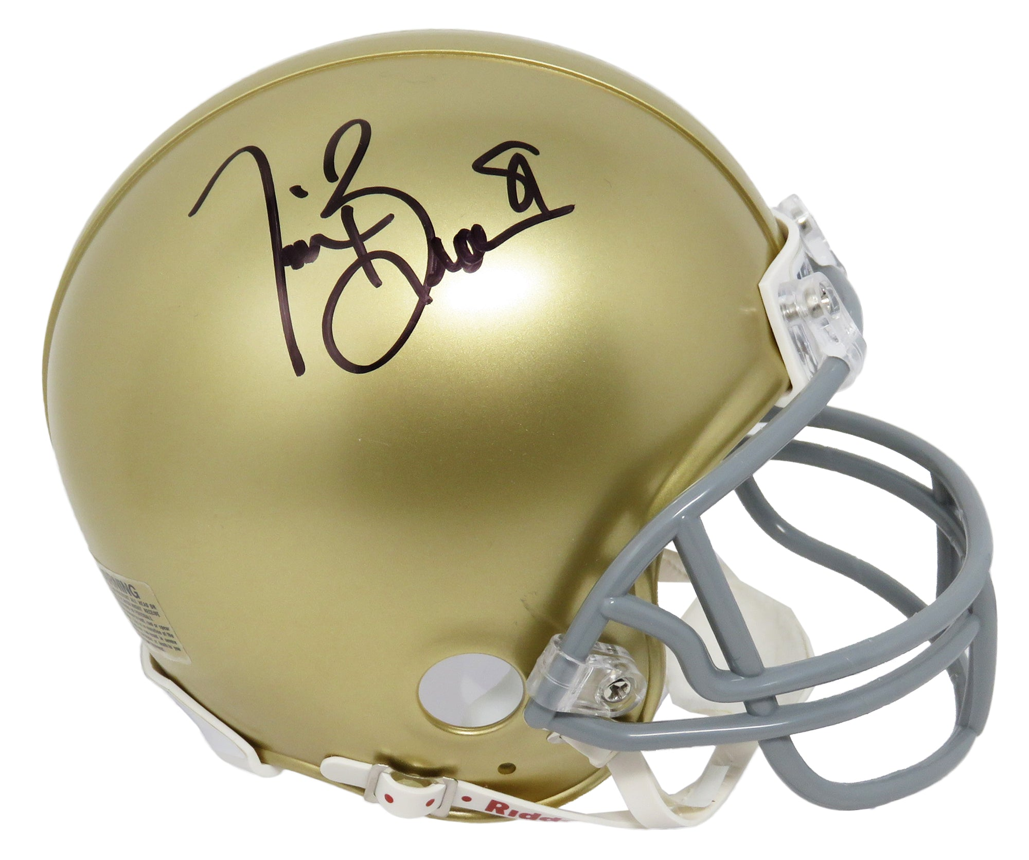 Tim Brown Signed Notre Dame Riddell Mini Helmet PSM-Powers Sports Memorabilia