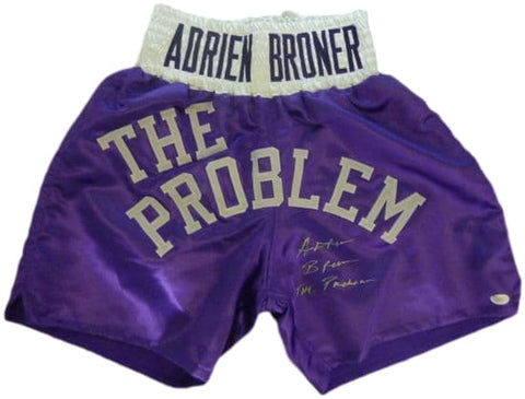 Adrien Broner Autographed Purple Boxing Trunks w/The Problem JSA PSM-Powers Sports Memorabilia