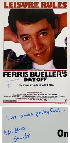 Matthew Broderick Signed Ferris Bueller's Day Off 27x40 Full Size Movie Poster w/Life Moves Pretty Fast PSM-Powers Sports Memorabilia