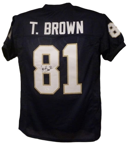 Tim Brown Autographed Notre Dame Fighting Irish Size XL Blue Jersey JSA PSM-Powers Sports Memorabilia