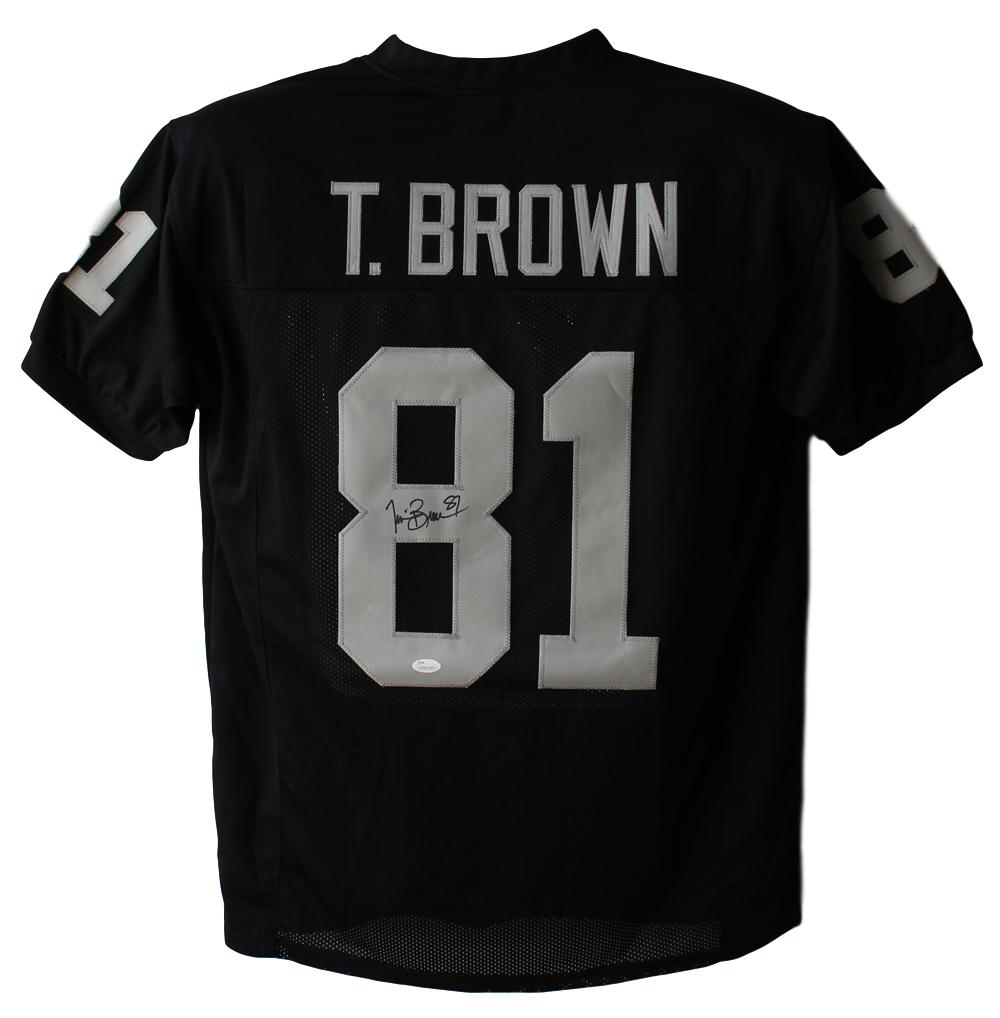 Tim Brown Autographed/Signed Oakland Raiders Black XL Jersey JSA PSM-Powers Sports Memorabilia