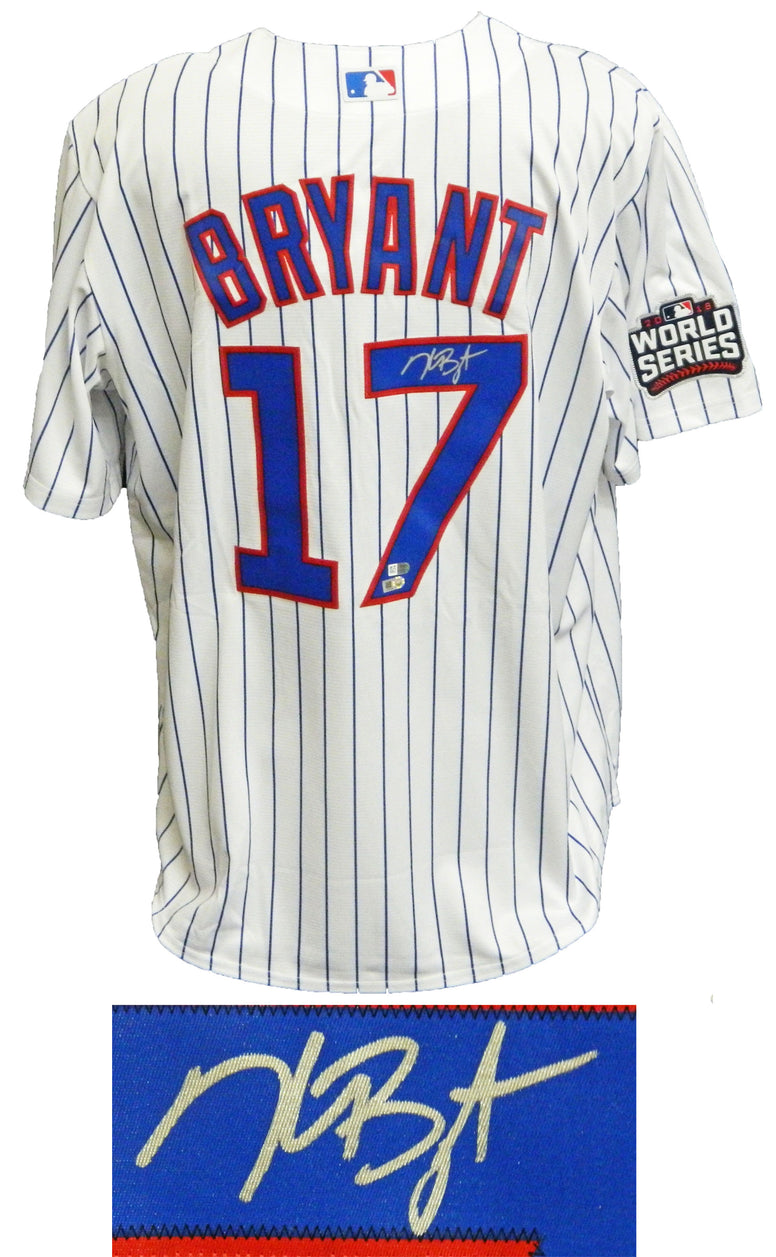 Kris Bryant Signed Chicago Cubs White Pinstripe 2016 World Series Patch Majestic Jersey PSM-Powers Sports Memorabilia
