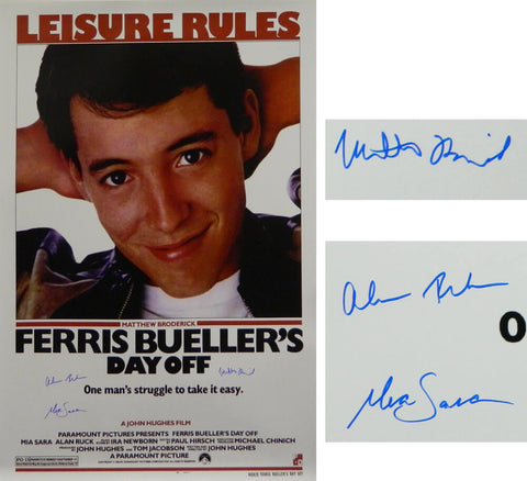 Matthew Broderick, Mia Sara & Alan Ruck Cast Signed Ferris Bueller's Day Off 27x40 Full Size Movie Poster PSM-Powers Sports Memorabilia