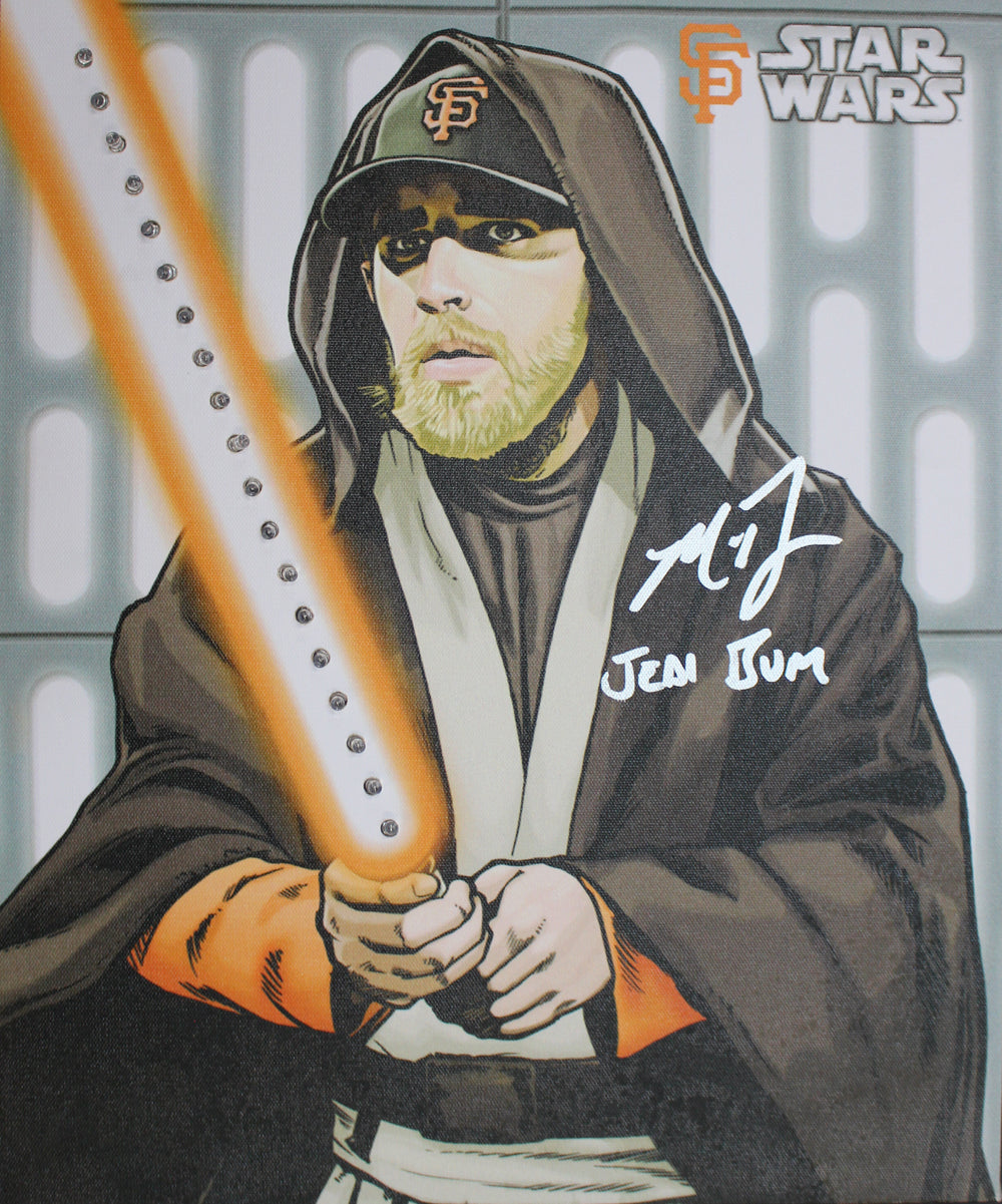 Madison Bumgarner Signed San Francisco Giants Star Wars 13x16 Canvas JSA PSM-Powers Sports Memorabilia