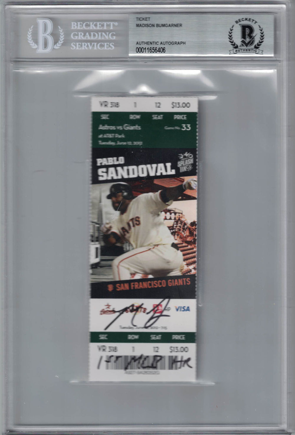 Madison Bumgarner Signed San Francisco Giants Ticket 1st MLB HR BAS Slab PSM-Powers Sports Memorabilia