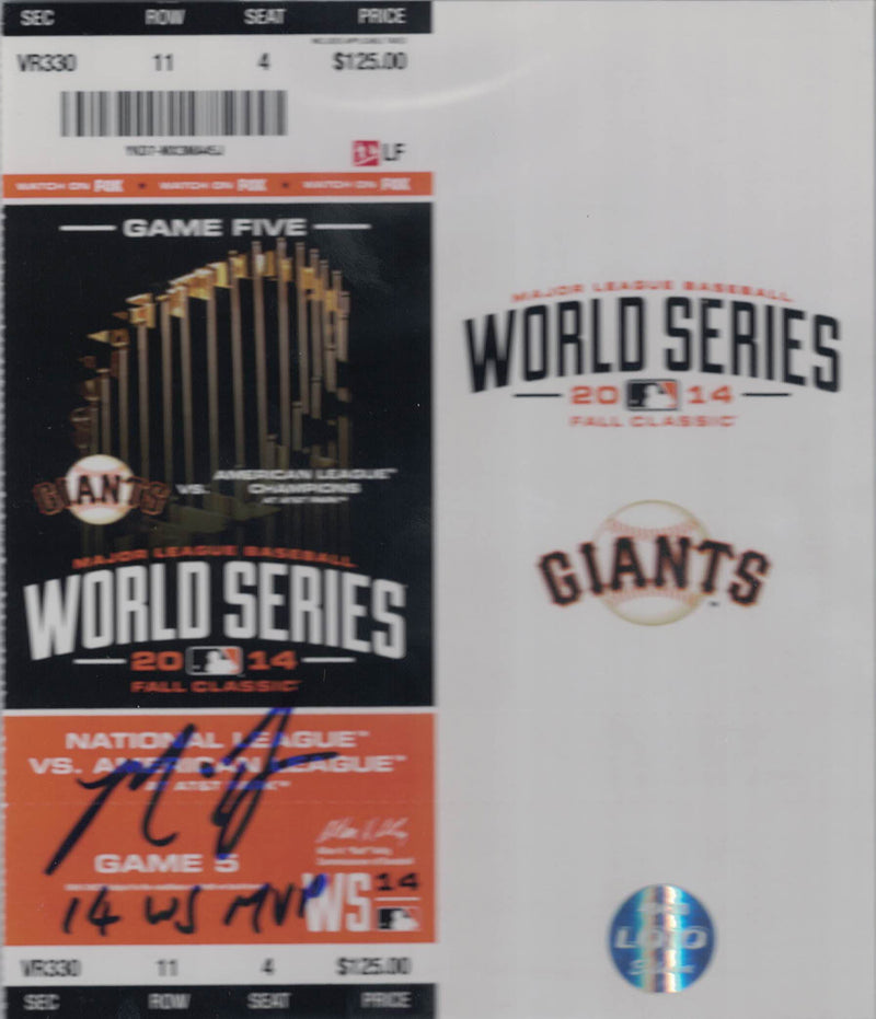 Madison Bumgarner Signed 2014 World Series Game 5 Ticket WS MVP BAS Slab PSM-Powers Sports Memorabilia