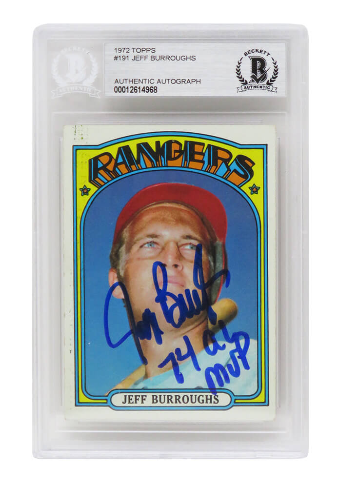 Jeff Burroughs Signed Texas Rangers 1972 Topps Baseball Rookie Card #191 w/74 AL MVP - (Beckett Encapsulated) PSM-Powers Sports Memorabilia
