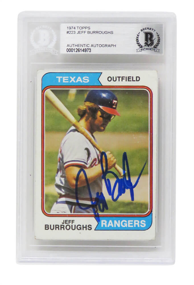 Jeff Burroughs Signed Texas Rangers 1974 Topps Baseball Card #233 - (Beckett Encapsulated) PSM-Powers Sports Memorabilia
