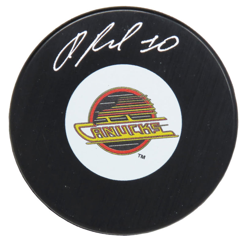 Pavel Bure Signed Vancouver Canucks Logo Hockey Puck PSM-Powers Sports Memorabilia