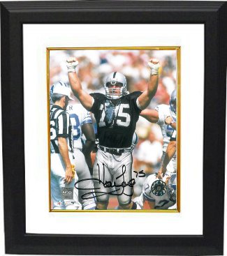 Howie Long signed Oakland Raiders 8x10 Photo Custom Framed (Arms Up) PSM-Powers Sports Memorabilia