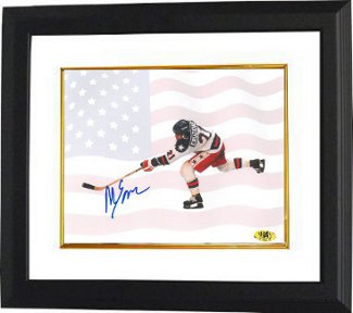 Mike Eruzione signed 1980 Team USA Olympic Hockey 8x10 Photo Custom Framed w/ Flag- Game Winning Goal Miracle on Ice PSM-Powers Sports Memorabilia