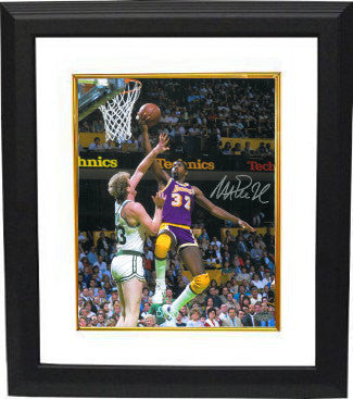 Magic Johnson signed Los Angeles Lakers 16x20 Photo vs Larry Bird Custom Framing - Schwartz Hologram PSM-Powers Sports Memorabilia