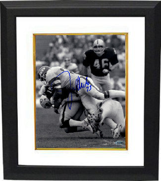 Joe Klecko signed New York Jets 8x10 Photo Custom Framed B&W sacking Jim Plunkett (New York Sack Exchange)- Steiner Hologram PSM-Powers Sports Memorabilia