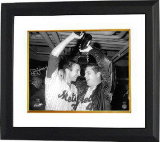 Jerry Koosman signed New York Mets B&W 16x20 Photo Custom Framed (1969 World Series champagne celebration with Tom Seaver) PSM-Powers Sports Memorabilia