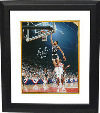 George Gervin signed San Antonio Spurs 8x10 Photo Custom Framing w/ HOF 96 Insc (Dunk vs Bullets) PSM-Powers Sports Memorabilia