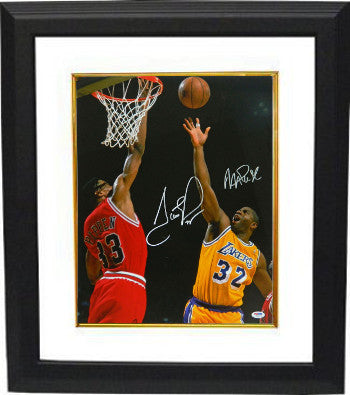 Scottie Pippen signed Chicago Bulls 16x20 Photo Custom Framed dual signed with Magic Johnson- PSA Hologram PSM-Powers Sports Memorabilia