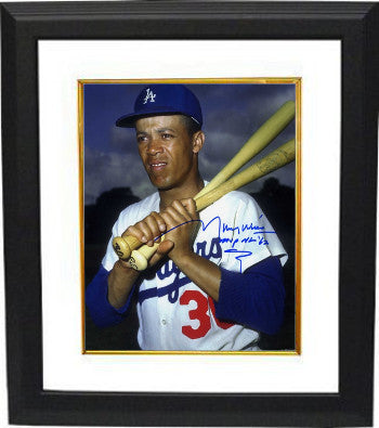 Maury Wills signed Los Angeles Dodgers 8x10 Photo Custom Framing w/ MVP NL '62 (bats on shoulder) PSM-Powers Sports Memorabilia