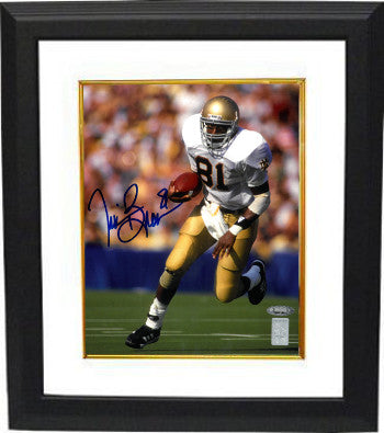 Tim Brown signed Notre Dame Fighting Irish 8X10 Photo Custom Framing (blue sig)- Tri-Star/Brown Holograms PSM-Powers Sports Memorabilia