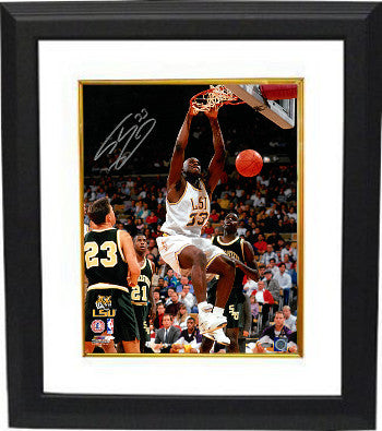 Shaquille O'Neal signed LSU Tigers 16x20 Photo Custom Framed #33 (dunk) PSM-Powers Sports Memorabilia
