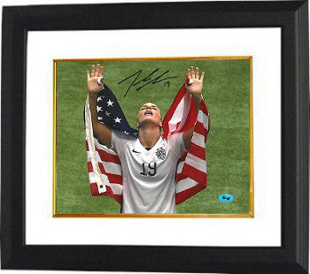 Julie Johnston signed 2015 World Cup 8x10 Photo Custom Framed #19 (arms up w/ flag-Team USA) PSM-Powers Sports Memorabilia