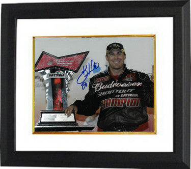 Kevin Harvick signed NASCAR 8x10 Photo Custom Framed (with Budweiser Shootout at Daytona Championship Trophy) PSM-Powers Sports Memorabilia
