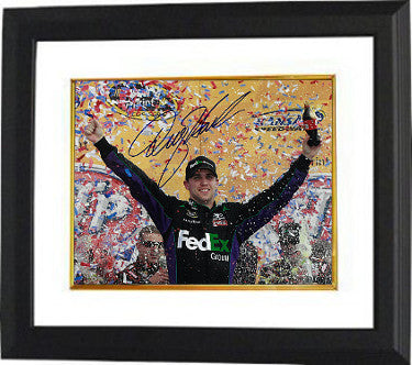 Denny Hamlin signed NASCAR 8x10 Photo Custom Framing - JSA Hologram (Kansas Speedway Win with Confetti) PSM-Powers Sports Memorabilia