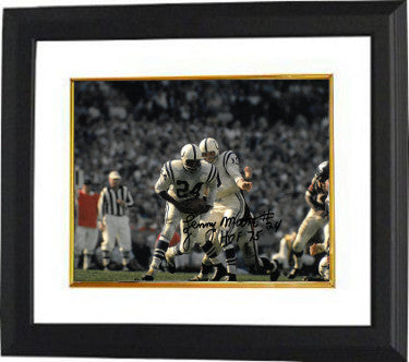 Lenny Moore signed Baltimore Colts 8x10 Photo Custom Framed #24 HOF 75 (horizontal w/ Unitas) PSM-Powers Sports Memorabilia