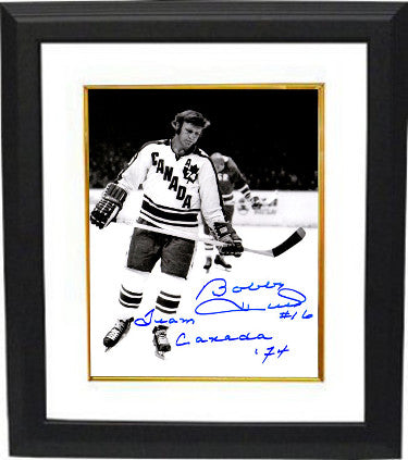 Bobby Hull signed Team Canada Vintage B&W 8x10 Photo Custom Framed #16 Team Canada 74 PSM
