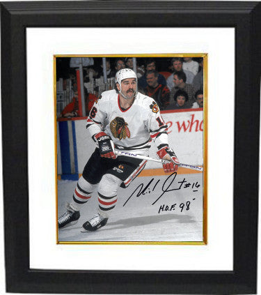 Michel Goulet signed Chicago Blackhawks 8x10 Photo Custom Framed #16 HOF 98 PSM