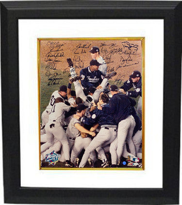 1998 NY Yankees World Series Champs Team signed 16x20 Photo 26 sigs Custom Framing– JSA LOA Z96129 Joe Torre/Andy Pettitte PSM-Powers Sports Memorabilia