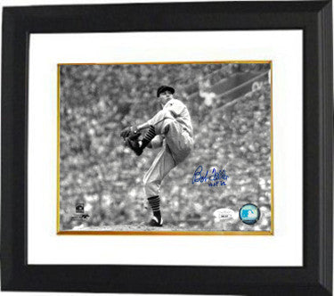 Bob Feller signed Cleveland Indians MLB Cooperstown B&W 8x10 Photo Custom Framed HOF 62- JSA PSM-Powers Sports Memorabilia
