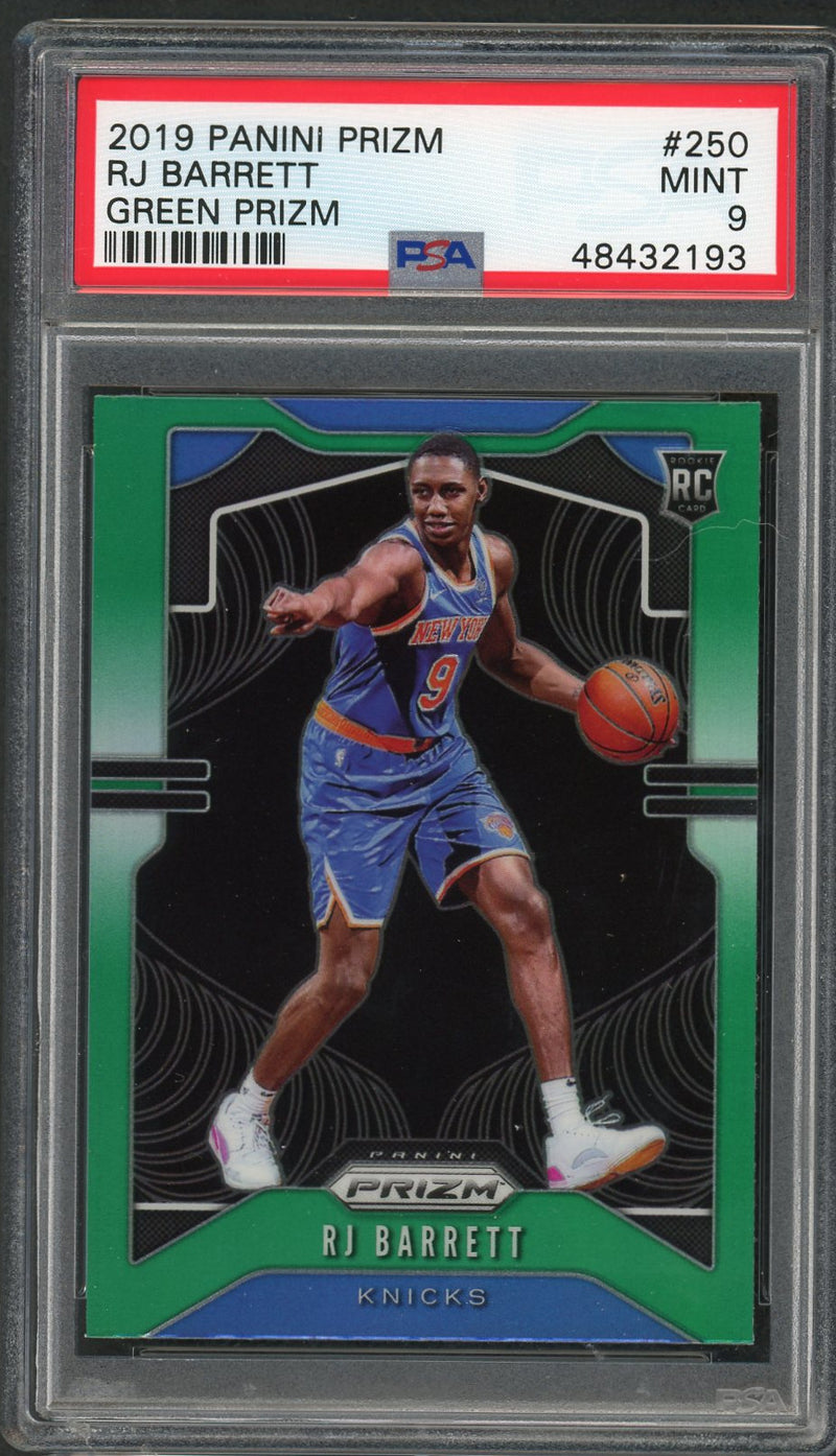 RJ Barrett New York Knicks 2019 Panini Prizm Green Basketball Rookie Card RC #250 Graded PSA 9 MINT-Powers Sports Memorabilia
