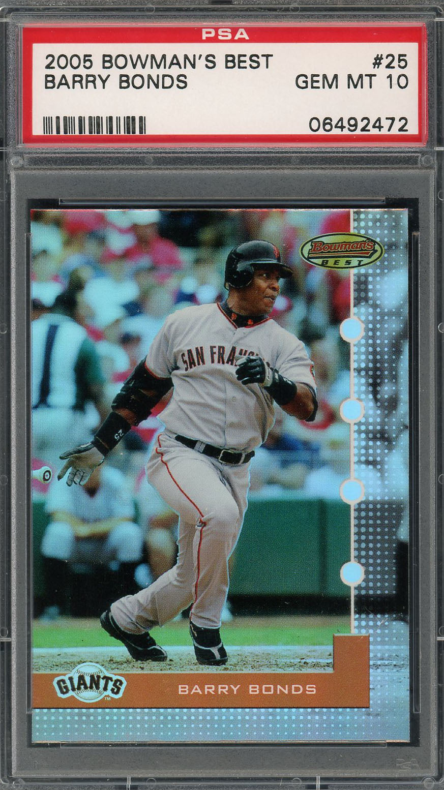 Barry Bonds San Francisco Giants 2005 Bowmans Best Baseball Card #25 Graded PSA 10 GEM MINT-Powers Sports Memorabilia