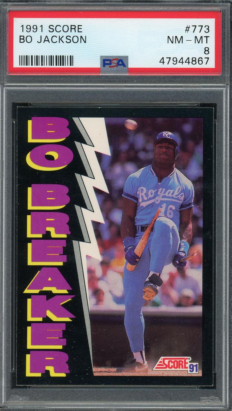 Bo Jackson Kansas City Royals 1991 Score Bo Breaker Baseball Card #773 Graded PSA 8-Powers Sports Memorabilia