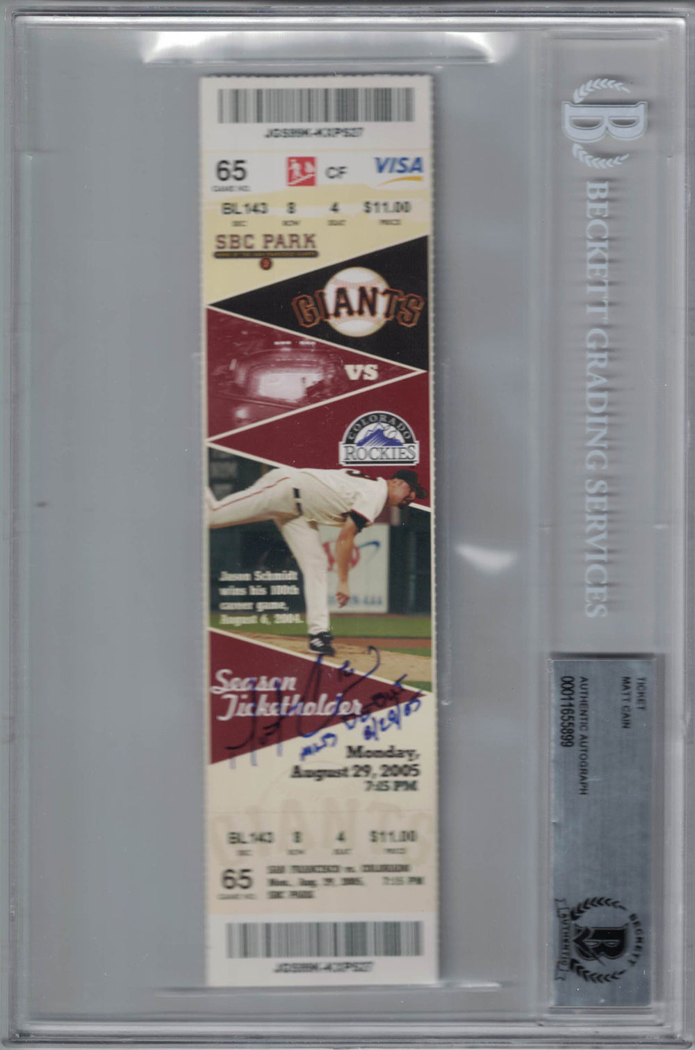 Matt Cain Autographed San Francisco Giants Ticket MLB Debut BAS Slab PSM-Powers Sports Memorabilia