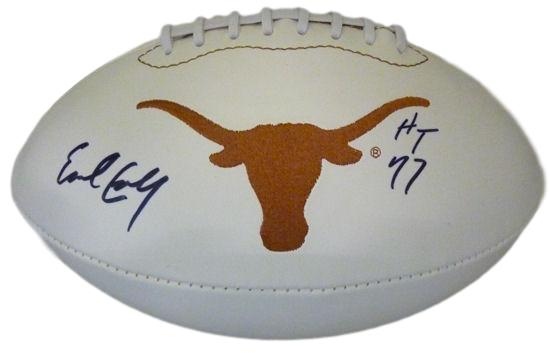 Earl Campbell Autographed Texas Longhorns White Panel Football HT 77 JSA PSM-Powers Sports Memorabilia